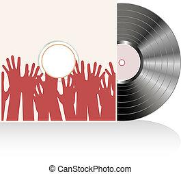 Vinyl disc cover in many human hands. Vector