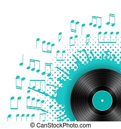 Vinyl disc with color splash with musical notes on white background. Audio abstract design template with blue blot. Vector