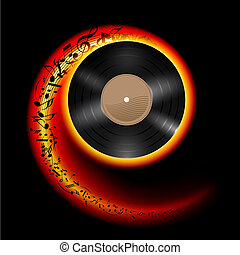 Vinyl disc with music notes. - Vinyl disc with music notes...