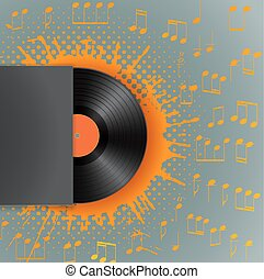 vinyl disk in blank cover envelope on stain with halftone and musical notes background