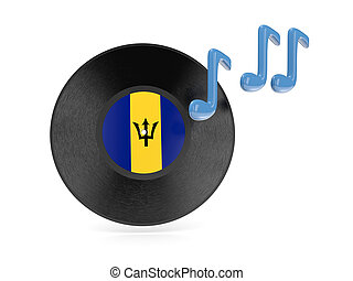 Vinyl disk with flag of barbados isolated on white
