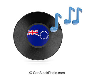 Vinyl disk with flag of cook islands isolated on white