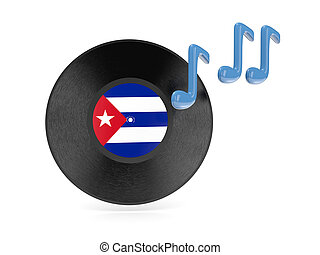 Vinyl disk with flag of cuba isolated on white