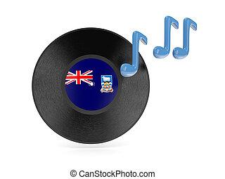 Vinyl disk with flag of falkland islands