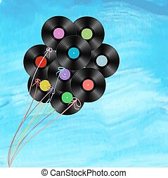 vinyl disks as balloons on watercolor background