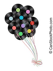vinyl disks as balloons on white background