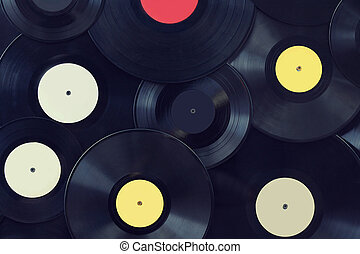 Vinyl disks wall, vintage musical background
