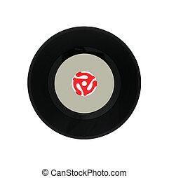 vinyl, egyedülálló, noha, 45 rpm, adapter.