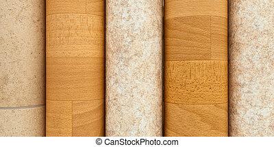 Rolls of vinyl laminated flooring close up
