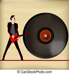 Vinyl Flyer, Vector Background Illustration for Guitar Based Concerts and Music