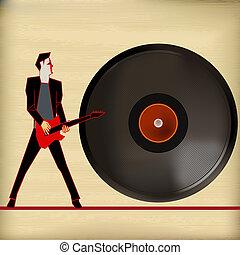 vinyl, flygare, vektor, bakgrund, illustration, för, gitarr,...