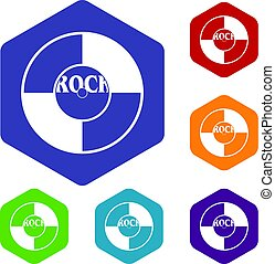 Vinyl icons set hexagon