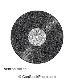 Vinyl music abstract plate, retro, template. The Effect Of Noise. Vector illustration on an isolated light background.