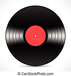 Vinyl music disc LP standard 12 inch for 33 rpm with red label and shiny grooves