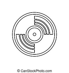 Vinyl music record icon, outline style