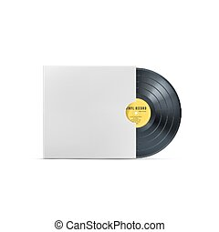 Vinyl music record. Realistic vintage gramophone disc with cover mockup. Vector illustration
