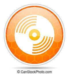 Vinyl music web icon. Round orange glossy internet button for webdesign.