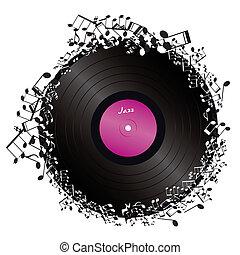 vinyl, omringde, door, muzieknota's