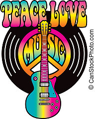 Retro-style text design of the words, Peace Love Music, with a guitar, peace symbol and vinyl record in colorful gradients.