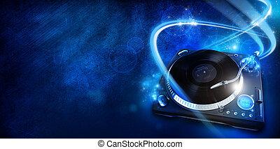 Vinyl player, graphic design illustration