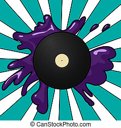 Vinyl pop background - Pop Art style imagery of a vinyl...