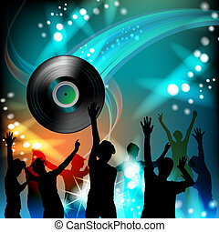 Vinyl recod with silhouettes - Dancing silhouettes with...