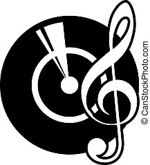 Vinyl record and a musical clef - Black and white cartoon...