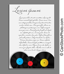 vinyl record background blank page vector illustration