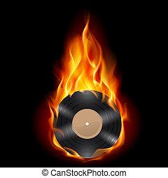 Vinyl record burning symbol. Illustration on black...