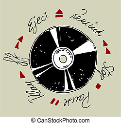 Vinyl Record - Vinyl record and written words of tape...