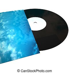 Vinyl record coming out of cover