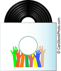 Vinyl record disk in box on white background