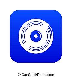 Vinyl record icon blue