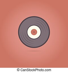 Vinyl record icon on a red background.