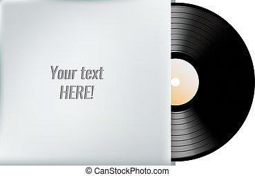 Vinyl record in blank cover envelope. Vector illustration