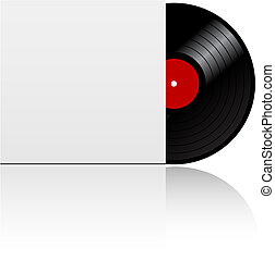 Isolated vinyl record in box