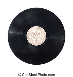 old vinyl record with funcky geometric disc isolated on white