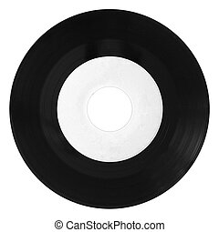 Vinyl record isolated with white label