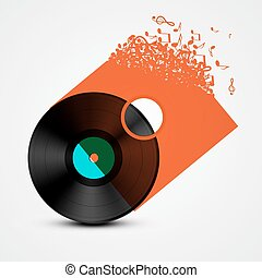 Vinyl Record LP with Transparent Cover Made from Music Notes. Abstract Vector Illustration.