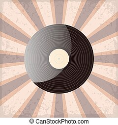 vinyl record on a sun rays background with grunge