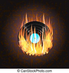 vinyl record on fire  a background of musical notes
