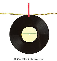 Vinyl record on gold rope