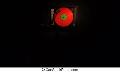 Vinyl record on turntable. Top view close up 4k.