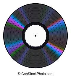 Vinyl Record On White Background. 3D Illustration.