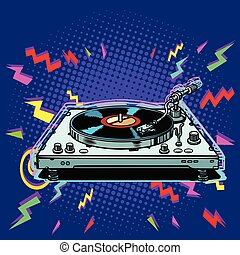 vinyl record player eighties style. Pop art retro vector ...