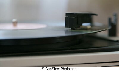 Vinyl record-player in closeup