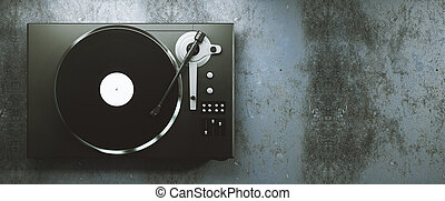 Vinyl record player on concrete background - Turntable vinyl...
