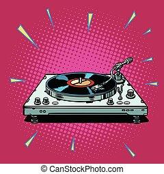vinyl record player. Pop art retro vector illustration ...