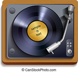 Vinyl record player print - Vintage retro vinyl record...