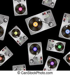 Vinyl Record Players Seamless Pattern